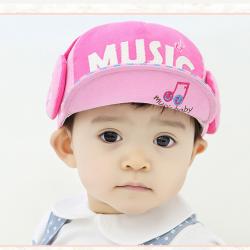 HT326••หมวกเด็ก•• / หมวกแก็ป Music (สีชมพู)