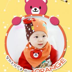 AP105••เซตหมวก+ผ้ากันเปื้อน•• / [สีส้ม] น้องหมี