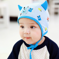 HT440••หมวกเด็ก•• / หมวกไพลอท-Monster (สีฟ้า)