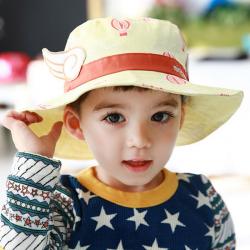 HT498••หมวกเด็ก•• / หมวกปีกกว้าง-บอลลูน (สีเหลือง)