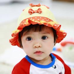 HT478••หมวกเด็ก•• / หมวกปีกกว้าง-โบว์คู่ (สีส้ม)