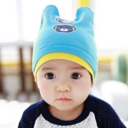 HT447••หมวกเด็ก•• / หมวกบีนนี่-หมีคู่ (สีฟ้า)