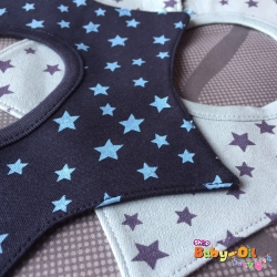 ผ้าซับน้ำลายเด็ก ผ้ากันเปื้อนเด็กเล็ก แบบ 360 องศา ปลายแฉก / ลายดาว (มี 2 สี)