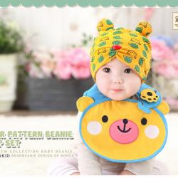 AP153••เซตหมวก+ผ้ากันเปื้อน•• / [สีเหลือง] น้องหมี
