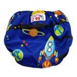 Swim Nappy ผ้าอ้อมว่ายน้ำ ซักได้ 7-15 กก. ปรับความกระชับรอบเอวและต้นขาได้ กันอึลงสระ - ลายอวกาศ