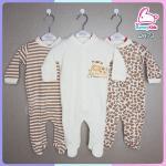 ชุดหมีหุ้มเท้า sleep suit แพ็ค 3 ชุด size 6-9 เดือน