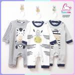 ชุดหมีขายาว sleep suit แพ็ค 3 ชุด size 0-3 เดือน