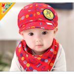 หมวก+ผ้ากันเปื้อนเด็ก สีแดง
