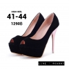 รองเท้าส้นสูงไซส์ใหญ่ 42-44 ส้นสีทองสูง 5 นิ้ว เปิดปลายเท้า สีดำกำมะหยี่ รุ่น KR0708