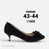 รองเท้าส้นเตี้ยไซส์ใหญ่ 43-44 Layered Bow Suede สีดำ รุ่น KR0680