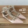รองเท้าส้นแบนไซส์ใหญ่ 43-47 วาเลนติโน Valentino Style สีนู๊ด หนังเคลือบ KR0399ND