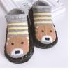 ถุงเท้ารองเท้า มีกันลื่น เนื้อผ้านุ่มนิ่ม สำหรับเด็กวัย 0-2 ปี ลายหมีริ้วเทาเหลืองพื้นดำ
