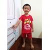 ชุดสีแดงเด็กโต เสื้อยืด+กางเกงขาสั้นเอวยางยืด สกรีนลายช้างพ่นน้ำ สำหรับเด็กวัย 3-8 ปี