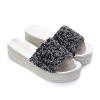 รองเท้าแตะส้นเตารีด ไซส์ 43 สีดำ กลิตเตอร์ รุ่น KR0664