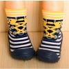 รองเท้าถุงเท้าพื้นยางหัดเดิน ลายรองเท้าเหลืองน้ำเงิน size 19-23