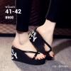 """รองเท้าแตะส้นเตารีดไซส์ใหญ่ 41-42 หูหนีบ 3"""" สีดำ LOVE รุ่น KR0601"""