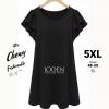ชุดเดรสสาวอวบ คนอ้วน ไซส์ใหญ่ 5XL ผ้าคอตตอล สีดำ รหัส FF0159