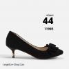 รองเท้าส้นเตี้ยไซส์ใหญ่ 44 Layered Bow Suede สีดำ รุ่น KR0680