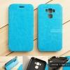 """เคส Zenfone 3 Max 5.5"""" (ZC553KL) เคสหนังฝาพับ + แผ่นเหล็กป้องกันตัวเครื่อง (บางพิเศษ) สีฟ้า"""