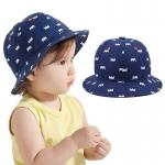 หมวกปีกเด็กเล็ก สีน้ำเงินพิมพ์มงกุฏขาว สไตล์เกาหลี สำหรับวัย 1-3 ปี