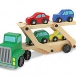 รถบรรทุกรถยนต์ ของเล่นไม้ Simulation Double Decker Wood Toy