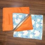 ผ้ารองกรงทูโทน 502-M ขนนุ่มฟ้า(เมฆ)&ส้ม