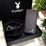 PLAYBOY Leather Belt & Wallet Limited Edition with Box กระเป๋าสตางค์ใบยาวสีน้ำตาล