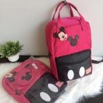 Disney Mickey Mouse กระเป๋าเป้ สะพายหลัง (สีชมพูคาดดำ)