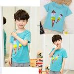 เสื้อยืดเด็กเล็ก สีเขียวลายไอติม มีกระดุมข้างคอ Size 0-1y/1-2y/2-3y สำหรับเด็กวัย 0-3 ปี