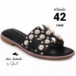 รองเท้าแตะไซส์ใหญ่ ไซส์ 42 ดีไซน์ H ประดับไข่มุกสุดหรู นำเข้าเกาหลี หนังแท้ สีดำ รุ่น KR0588