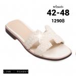 รองเท้าแตะไซส์ใหญ่ 42-46 ดีไซน์ H ประดับเกร็ดดอกไม้เล็กๆ สีขาว รุ่น KR0724