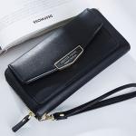กระเป๋าสตางค์ใบยาว ซิปรอบ Forever Young Letter สีดำ