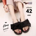 รองเท้าแตะยางไซส์ใหญ่ 42 ติดโบว์ใหญ่ สีดำ รุ่น KR0704
