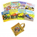 Busy Wheels 8 Books Collection in a yellow bag by Peter Bently : นิทานภาพ รวมรถต่างๆ 8 เล่ม พร้อมกระเป๋า