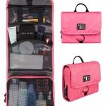 กระเป๋าใส่อุปกรณ์อาบน้ำ คุณภาพสูง ใส่อุปกรณ์อาบน้ำ แขวนได้ สำหรับเดินทาง ท่องเที่ยว (สีชมพู)