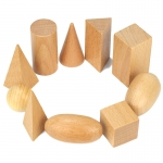 ของเล่นไม้ สอนรูปทรงเรขาคณิตสามมิติ 10 ชิ้น พร้อมถุงผ้าเก็บ