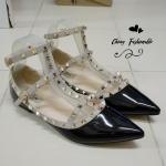 รองเท้าส้นแบนไซส์ใหญ่ 44-45 วาเลนติโน Valentino Style สีดำ รุ่น KR0399