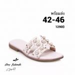 รองเท้าแตะไซส์ใหญ่ ไซส์ 42-46 ดีไซน์ H ประดับไข่มุกสุดหรู หนังแท้ สีขาว รุ่น KR0588