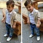 ชุดเด็กชายเซต 3 ชิ้น สูท เสื้อโปโลแขนยาว กางเกงยีนส์ขายาว
