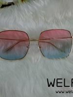 แว่นกันแดด สีเหลี่ยมทูโทนชมพู+ฟ้า