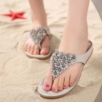 [พร้อมส่ง] ไซส์ 34 รองเท้าแตะหูหนีบ ประดับดแกไม้เล็กๆ สีเทา KR0256