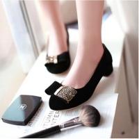 [พร้อมส่ง] ไซส์ 41 43 รองเท้าส้นเตี้ย สีดำ หนังกำมะหยี่นิ่ม 1.5 นิ้ว KR0181