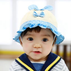 HT477••หมวกเด็ก•• / หมวกปีกกว้าง-โบว์คู่ (สีฟ้า)