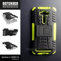เคส Zenfone 2 Laser (5.5 นิ้ว) กรอบบั๊มเปอร์ กันกระแทก Defender สีเขียวอ่อน (เป็นขาตั้งได้)