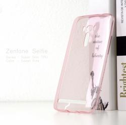 เคส ZenFone Selfie (ZD551KL) เคสนิ่ม Super Slim TPU บางพิเศษ พร้อมจุดขนาดเล็กด้านในเคสป้องกันเคสติดกับตัวเครื่อง (ชมพูใส)