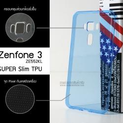 เคส Zenfone 3 (ZE552KL) 5.5 นิ้ว เคสนิ่ม Super Slim TPU บางพิเศษ จุด Pixel ขนาดเล็กป้องกันเคสติดตัวเครื่อง (ครอบคลุมกล้องยิ่งขึ้น) สีน้ำเงินใส