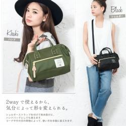 กระเป๋า Anello 2 Way Mini Boston Bag Khaki สะพายข้างลำตัว