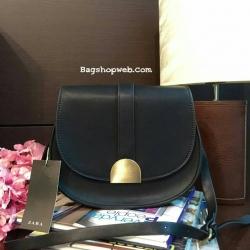 กระเป๋า ZARA MESSENGER BAG WITH METAL FASTENING กระเป๋าสะพายหนังแกะสังเคราะห์