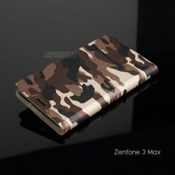 เคส Zenfone 3 Max 5.2 นิ้ว (ZC520TL) เคสฝาพับพร้อมช่องใส่บัตร พับเป็นขาตั้งได้ ลายทหาร สีน้ำตาล