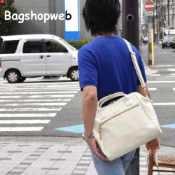 กระเป๋าเป้ ANELLO 2 WAY PU LEATHER BOSTON BAG (Regular)-----Ivory Color